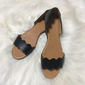 J Crew Leather scalloped peep-toe flats